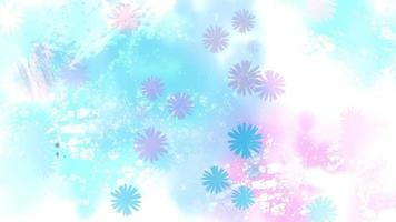 coloridas flores de acuarela salpicando en un fondo azul y rosa