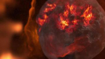 elemento espacial abstracto del planeta de lava roja