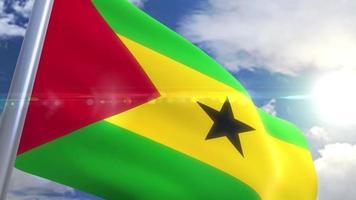 Agitando a bandeira de São Tomé e Príncipe animação video