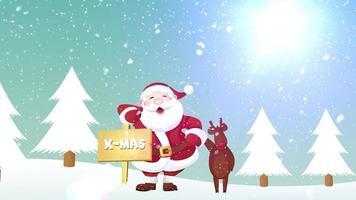 animação de banner de natal de papai noel e renas