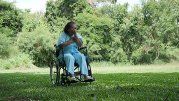 Femme âgée handicapée solitaire assis sur un fauteuil roulant seul dans le parc