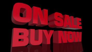 vermelho à venda e compre agora animação de texto.