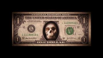US Dollar Bill With Skullhead Inside And Glitch Effect video