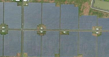 Aerial view of Solar cell Farm, Electricity production from the sun video