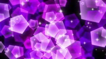 particelle pentagonali luccicanti viola in aumento