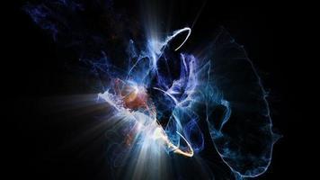 partículas atômicas colidem, giram e brilham video
