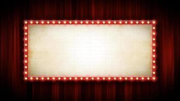Theater Or Cinema Background With Marquee Sign And Red Curtains