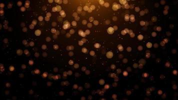 partículas de polvo dorado flotante con bokeh