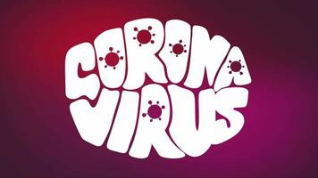 animação de letras de coronavírus na forma de uma máscara facial