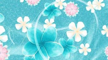 Bright pastel flowers in a blue bubbly background