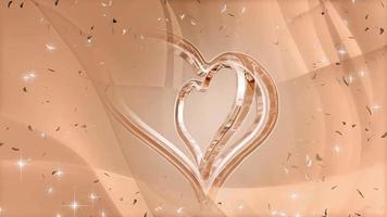 um coração menor girando em um coração maior em um fundo marrom claro