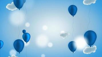 Beautiful dark blue balloons rising to heaven