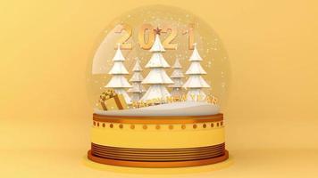 nieve en la esfera con un pinar y feliz año nuevo dos mil veintiuno.