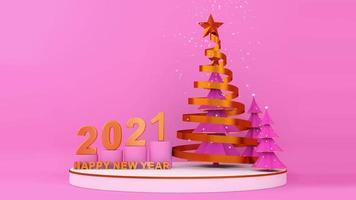 pinheiro de fita dourada com neve e feliz ano novo dois mil vinte e um video