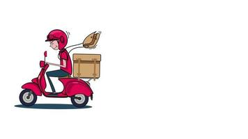 Delivery Man on a Motorized Scooter