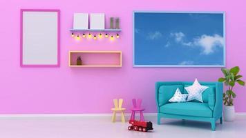 intérieur de la chambre des enfants avec une fenêtre de vue du ciel en mouvement.