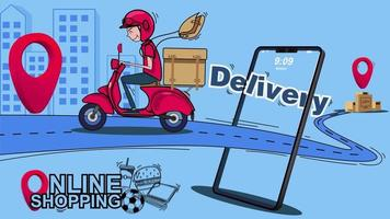 Online shopping, Delivery by scooter.