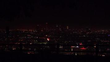 Lights of Downtown Los Angeles Shining Against the Night Sky 4K video
