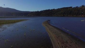 Drone Footage Over a Sandbar on the Columbia River