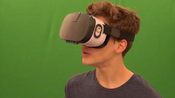 Person Using Virtual Reality Headset with Green screen 4k