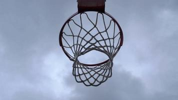 Perspective Angle of Basketball Going Through Net 4k