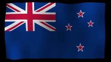 vídeo de stock de bucle de movimiento 4k de bandera de nueva zelanda video