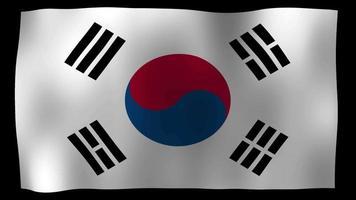 vídeo de stock de bucle de movimiento 4k de bandera de Corea del Sur video