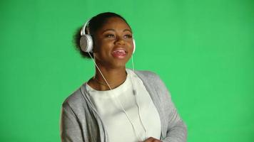 Young African American Woman Headphones
