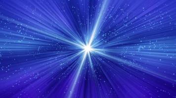 weiße kleine Teilchen, die auf blauem Hintergrund mit glänzendem Aufflackern verblassen
