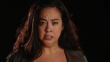 Young hispanic woman upset angry emotional 1 video