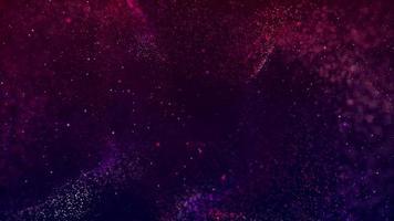 loop de partículas rosa e roxas flutuando em um fundo escuro de 4k video
