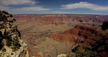 Tir panoramique lent allant à droite du canyon rouge et d'une vallée profonde en 4k