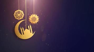 símbolos árabes ramadan ramazan eid mubarak caindo sobre fundo de corda azul