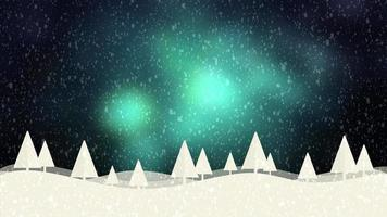 Snow and Christmas trees HD 1080 green bokeh background