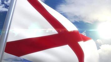agitando bandeira do estado do alabama eua