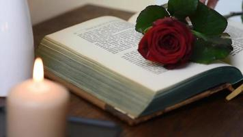close up picking up a red rose from table with book and candles