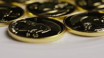 Rotating shot of Titan Bitcoins (digital cryptocurrency) - BITCOIN TITAN 033