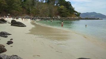 Time lapse of beautiful white sand beach in Phuket , Thailand
