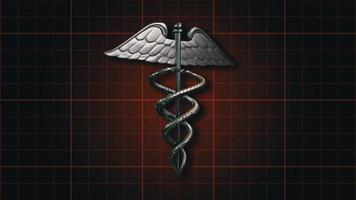 el símbolo médico del caduceo girando sobre una cuadrícula de color naranja oscuro
