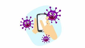 A Hand Holding Contaminated Smartphone