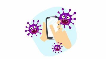 uma mão segurando um smartphone contaminado