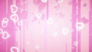 Little pink and white hearts falling in shades in a pink background