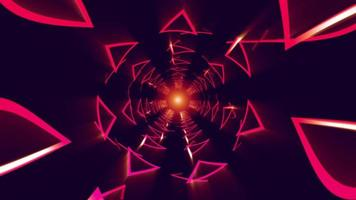 Abstract futuristic Triangle and Line Lighting Tunnel moving