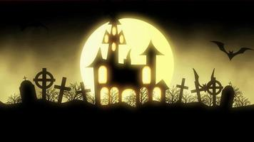 animation of a spooky haunted house with flying bats Halloween
