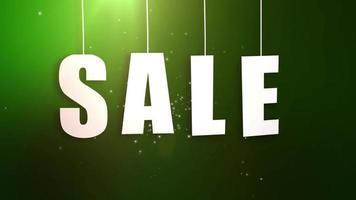 carta de vendas pendurada em um cordão com um lindo fundo verde video