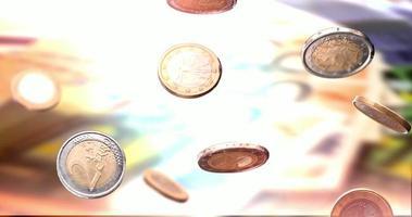 moedas de euro caindo fundo de dinheiro em câmera lenta video