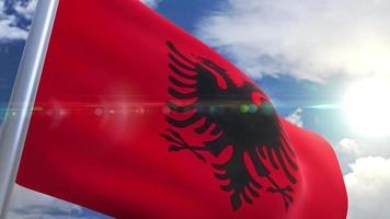 Waving flag of Albania Animation