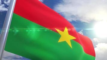 Waving flag of Burkina Faso Animation