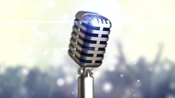 Retro microphone stage. Close up vintage microphone on stage. Old microphone on light background
