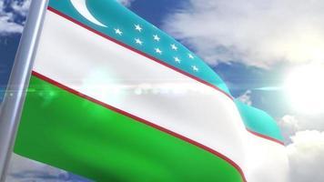 Waving flag of Uzbekistan Animation
